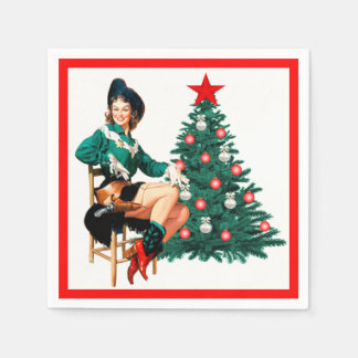 Vintage Cowgirl With Christmas Tree On White Paper Napkins
