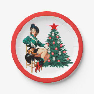 Vintage Cowgirl With Christmas Tree Red Border Paper Plate