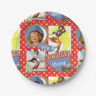 Vintage Cowgirls Roping Western Party 7 Inch Paper Plate