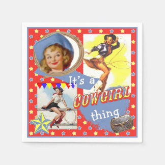 Vintage Cowgirls Roping Western Party Paper Napkin