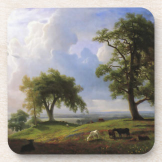 Vintage Cows in a Country Meadow Ranch Coaster