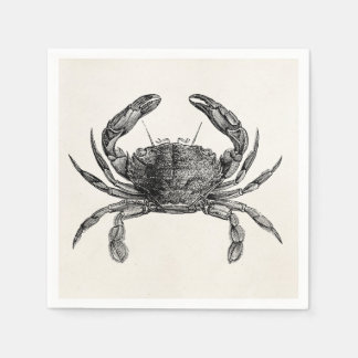 Vintage Crab Antique Crabs Personalized Template Disposable Napkins