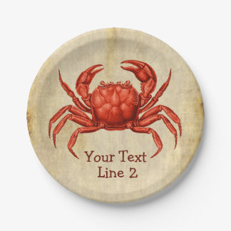 Vintage Crab Design Personalized 7 Inch Paper Plate