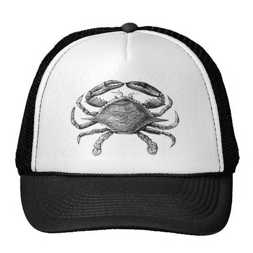 Vintage Crab Drawing Trucker Hats