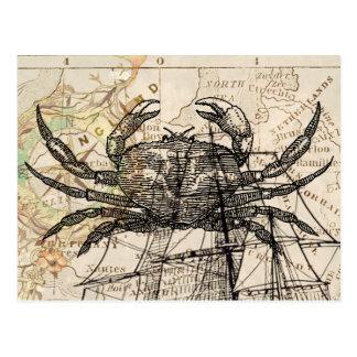 Vintage crab map postcards