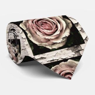 vintage cracked roses tie