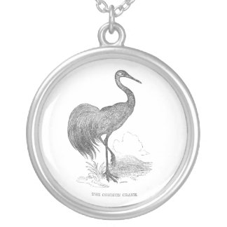 Vintage Crane Bird Pen and Ink Drawing Silver Plated Necklace