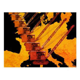 VINTAGE CRANE CRANE OPERATOR MAP OF EUROPE POSTCARD