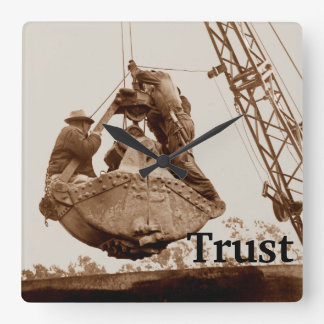 Vintage Crane Operator Men in Bucket Trust Square Wall Clock