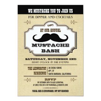 Vintage Cream and Brown Mustache Bash Card