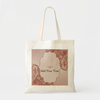 Vintage Cream and Cinnamon Filigree Scroll Tote Bag