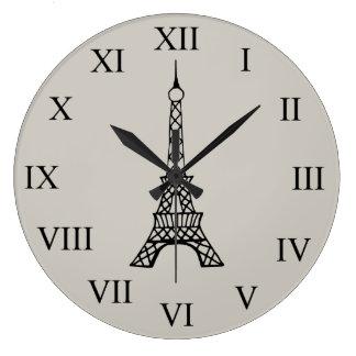 Vintage Cream Eiffel Tower Paris Wall Clock
