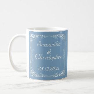 Vintage Cream Floral Frame on Dusk Blue Wedding Classic White Coffee Mug