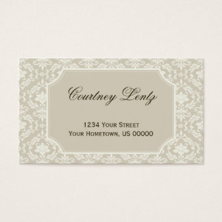 Vintage Cream Ivory Damask Business Card