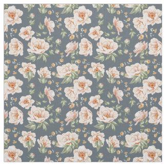 Vintage creamy orange grey spring flower pattern fabric