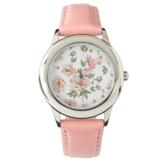 Vintage creamy orange spring floral vines wristwatches