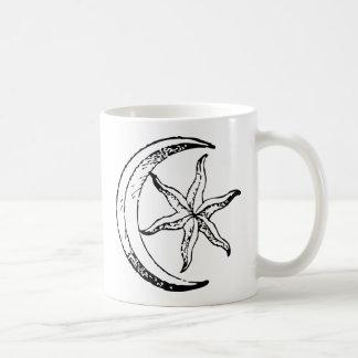 Vintage Crescent Moon and Star Coffee Mug