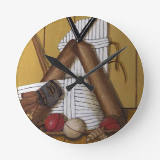 Vintage Cricket Round Clock
