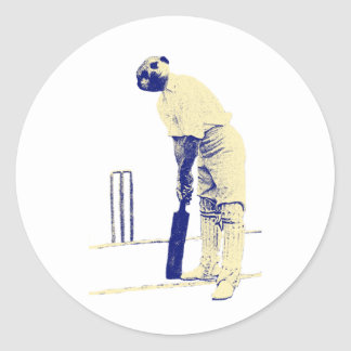 vintage cricketing meerkat. classic round sticker
