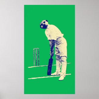 vintage cricketing meerkat poster customisable