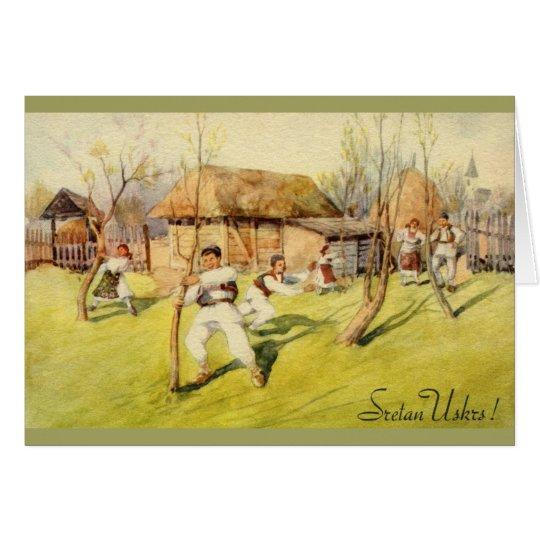 Vintage Croatian Sretan Uskrs Easter Greeting Card