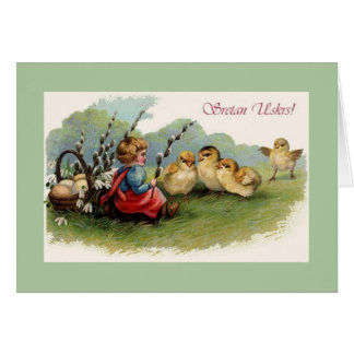 Vintage Croatian Sretan Uskrs Easter Greeting Card