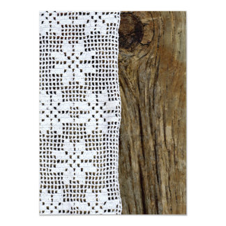 Vintage Crochet Lace and Driftwood Invitation
