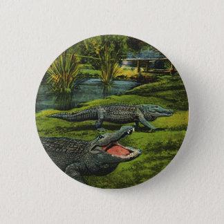 Vintage Crocodiles, Marine Life Animals, Reptiles 2 Inch Round Button