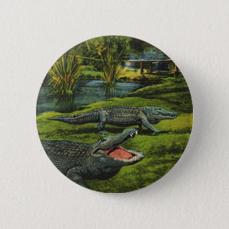 Vintage Crocodiles, Marine Life Reptiles Animals 2 Inch Round Button