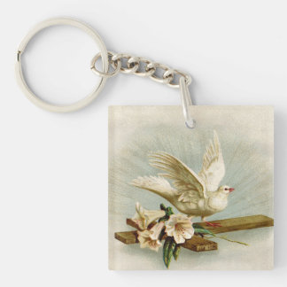 Vintage Cross And Dove Keychain