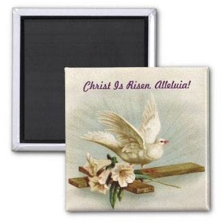 Vintage Cross And Dove Square Magnet