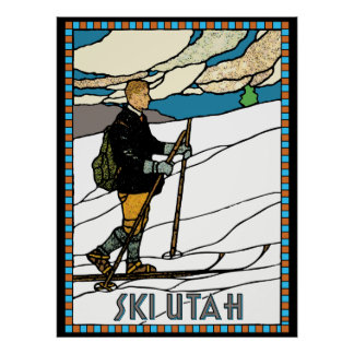 Vintage Cross Country Skier Ski Utah Poster
