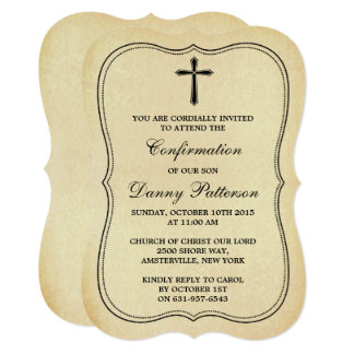 "Vintage Cross Holy Communion Or Confirmation 5"" X 7"" Invitation Card"