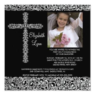 Vintage Cross Photo First Communion Inviation Personalized Invite
