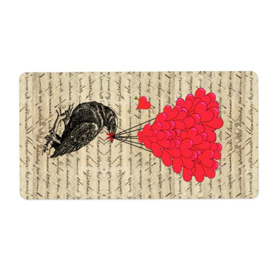 Vintage Crow and heart shaped balloons