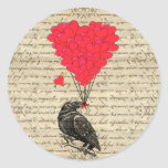 Vintage Crow and heart shaped balloons Round Sticker