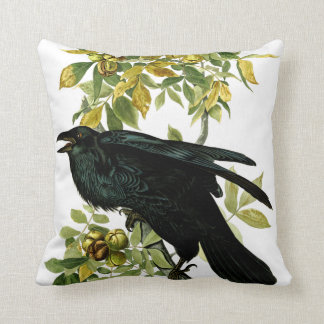 Vintage Crow Black Nature Gothic Fantasy Throw Pillow