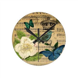 vintage crown bird Music Notes french botanical Round Clock