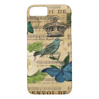 vintage crown bird Music Notes white Rose Case-Mate iPhone Case