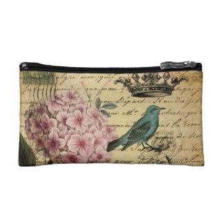 Vintage crown botanical art hydrangea french bird cosmetic bags