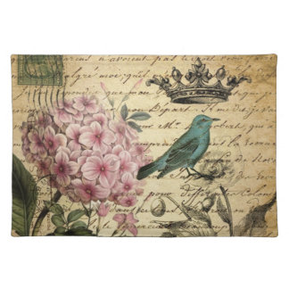 Vintage crown botanical art hydrangea french bird place mats