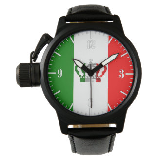 Vintage Crown Italy Italian Italo Flag Watch