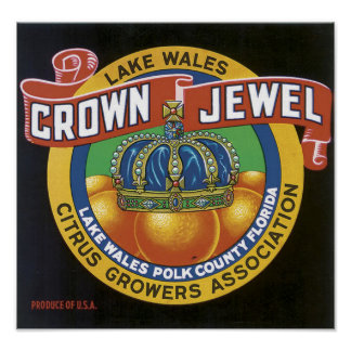 Vintage Crown Jewel Label Poster