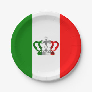 Vintage Crown Modern Italy Italian Flag 7 Inch Paper Plate