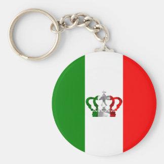 Vintage Crown Modern Italy Italian Flag Basic Round Button Keychain