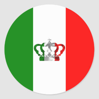 Vintage Crown Modern Italy Italian Flag Classic Round Sticker
