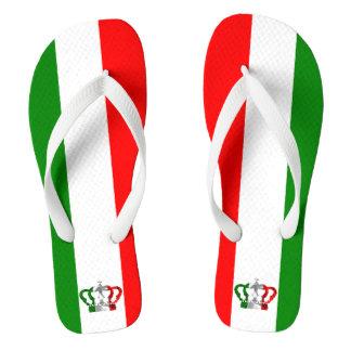 Vintage Crown Modern Italy Italian Flag Flip Flops
