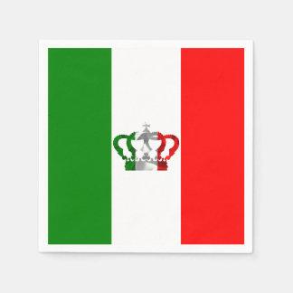 Vintage Crown Modern Italy Italian Flag Paper Napkins