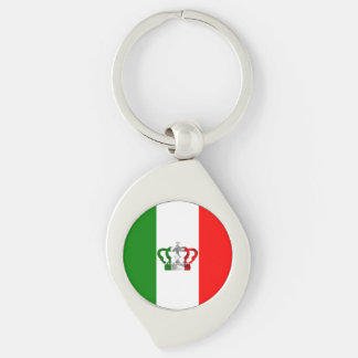 Vintage Crown Modern Italy Italian Flag Silver-Colored Swirl Keychain