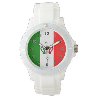 Vintage Crown Modern Italy Italian Flag Watch